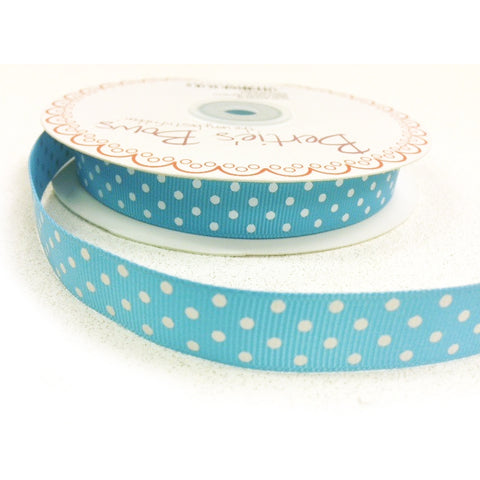 16mm Turquoise Blue & White Polka Dot Spot Grosgrain Ribbon - SweetpeaStore