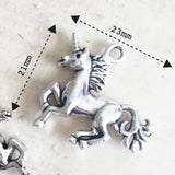 Set of 2 Antique Silver Plated Unicorn Charms - SweetpeaStore