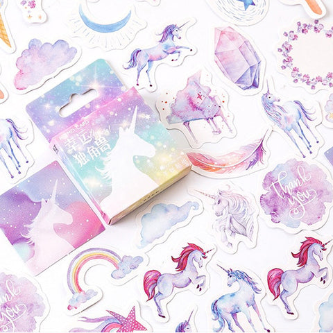 Set of 46 Watercolour Unicorn & Rainbow Mini Box Journalling Scrapbook Stickers - SweetpeaStore