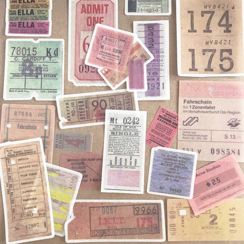 Set of 60 Travel Ticket Ephemera Vellum Paper Peel-Off Stickers - SweetpeaStore
