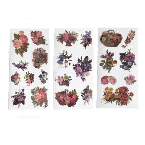 3 Sheets of Vintage Victorian Floral Ephemera Vellum Paper Stickers - SweetpeaStore