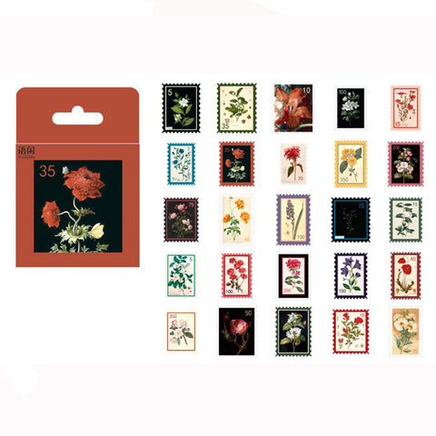 Mini Box Set of 50 Vintage Floral Stamps Paper Stickers