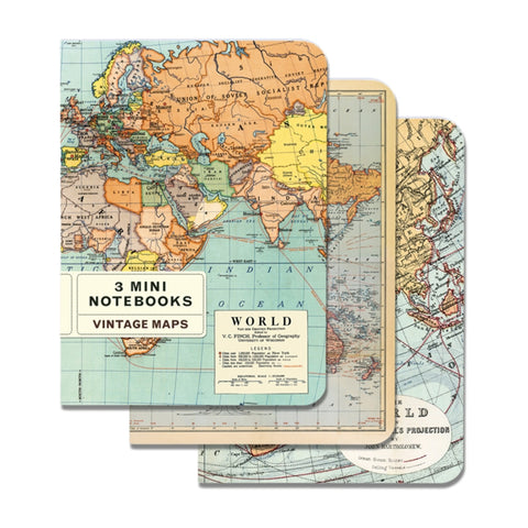 Set of 3 3 Mini A6 Notebooks - Vintage World Maps - Cavallini & Co
