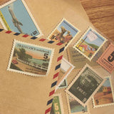 Set of 18 Vintage-Style Travel Stamp Stickers - Design 1 - SweetpeaStore