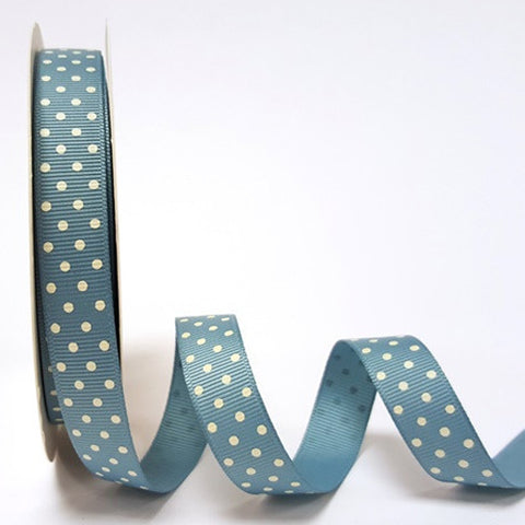 16mm Vintage Blue & White Polka Dot Spot Grosgrain Ribbon - SweetpeaStore