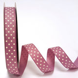 16mm Vintage Rose Purple & White Polka Dot Spot Grosgrain Ribbon - SweetpeaStore