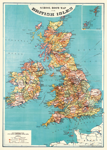 Vintage School Room British Isles Map Wrap Poster - Cavallini & Co - SweetpeaStore