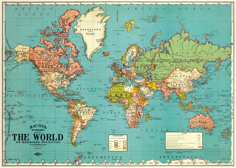 Vintage World Map Poster - Cavallini & Co - SweetpeaStore