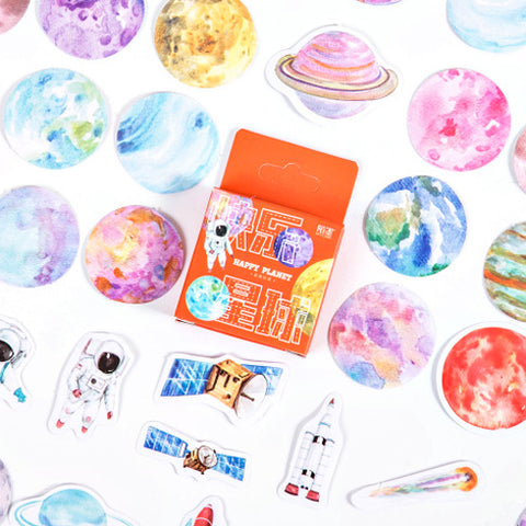 46 Watercolour Space & Planet Mini Box Stickers - SweetpeaStore