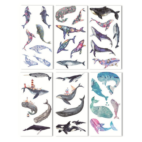 Set of 6 Watercolour Whale Peel-Off Vellum Paper Sticker Sheets
