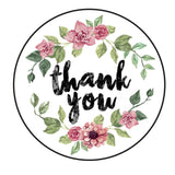35 Thank-You Pretty Floral Peel-off Stickers - White Gloss Paper - 37mm - SweetpeaStore