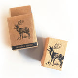 Wooden Rubber Christmas Stamp - Stag Reindeer Rustic Country - Printing Stamps - SweetpeaStore