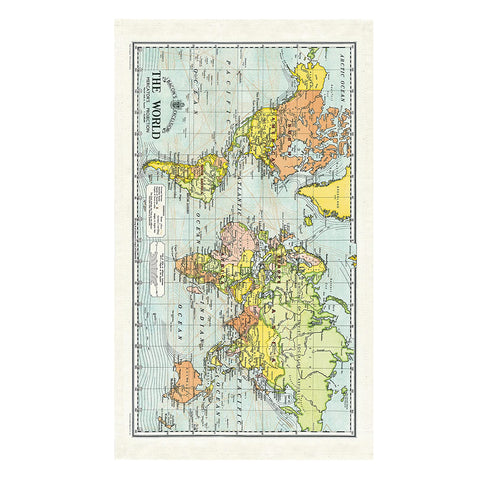 Cavallini & Co Vintage World Map Cotton Tea Towel - SweetpeaStore