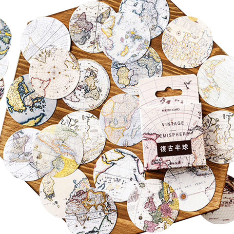 Set of 46 Vintage World Map Mini Box Circle Stickers - SweetpeaStore