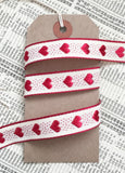 15mm Gorgeous Woven Red Heart Rustic Cream Ribbon - SweetpeaStore