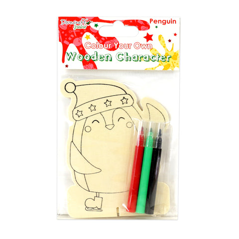 Kids Christmas Craft - Colour Your Own Wooden Character - Penguin - SweetpeaStore