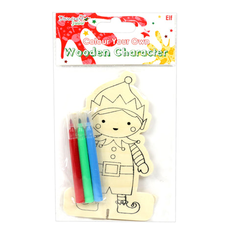 Kids Christmas Craft Kit - Colour Your Own Wooden Character - Elf - Dovecraft - SweetpeaStore