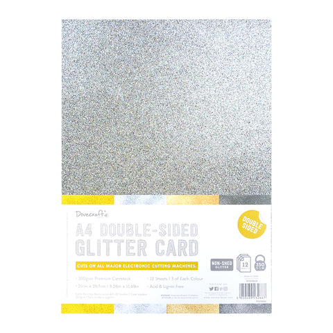 A4 Double Sided Glitter Card - Metallics Rose Gold Silver Gunmetal Gold  - 350gsm 12 Sheets - SweetpeaStore