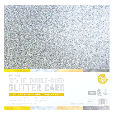 "12"" x 12"" Double Sided Glitter Card - Metallics Rose Gold Silver Gunmetal Gold  - 350gsm 12 Sheets - Dovecraft - SweetpeaStore"