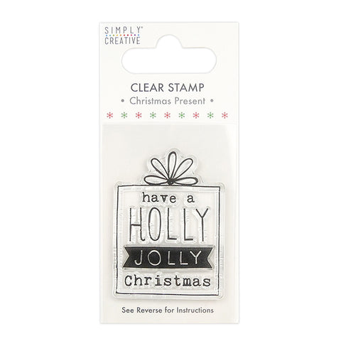 Holly Jolly Christmas Present Clear Stamp - Simply Creative - SweetpeaStore