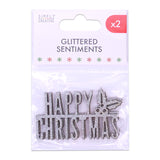 Merry Christmas Silver Glitter Wooden Sentiment - Simply Creative - SweetpeaStore