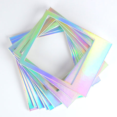 Instant Photo Frames - Iridescent Rainbow Metallic Card - Set of 10 - SweetpeaStore