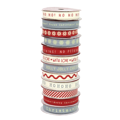 1cm x 2m Vintage Cotton Printed Christmas Ribbon - 12 Designs - SweetpeaStore