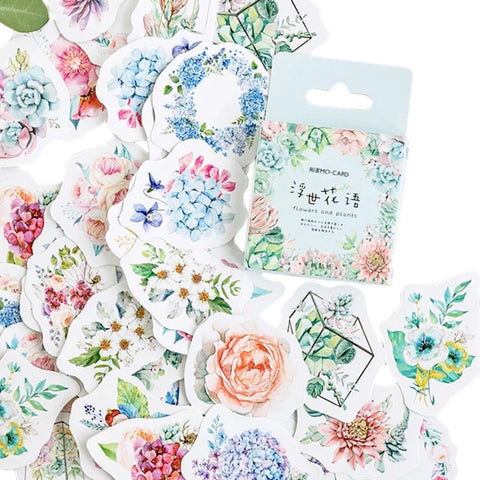 Set of 46 Pretty Flowers & Plants Botanical Mini Box Stickers - SweetpeaStore