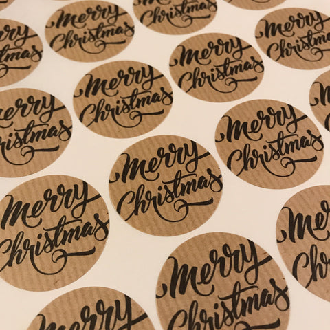 Set of 24 38mm Merry Christmas Round Kraft Stickers - SweetpeaStore