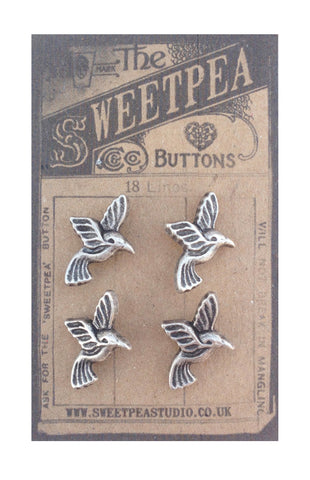 4  Silver Metal Hummingbird Bird Buttons - SweetpeaStore
