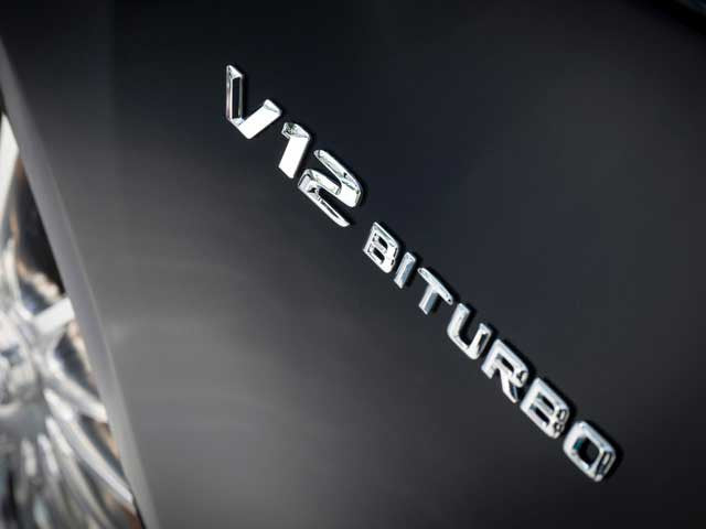 V12 Biturbo badge in Chrome