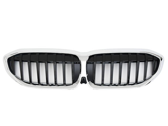BMW G20 3 Series Kidney Grilles Gloss Black with Chrome Surround Single Bar Design