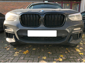 BMW G01 X3 G02 X4 Kidney Grilles Gloss Black New Twin Bar Design - Models from 2018