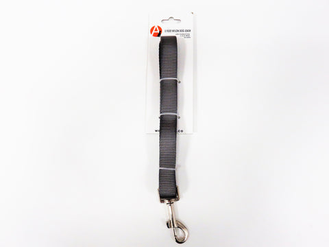 Steel Grey 5 foot Nylon Dog Leash with Durable Padded Grip