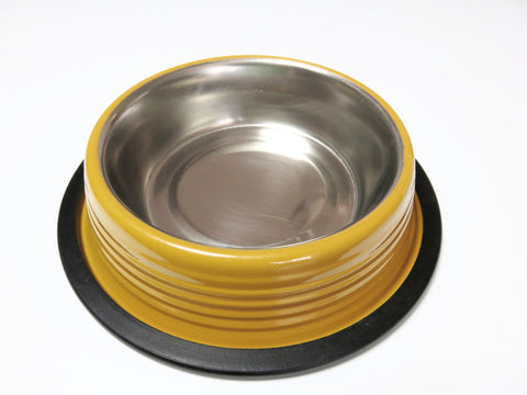 Golden Mustard Ribbed Cat and Dog Bowls