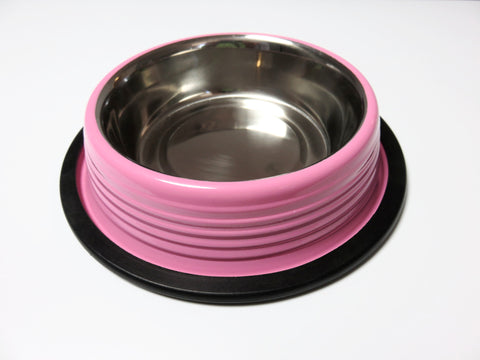 Carnation Pink Ribbed Cat and Dog Bowls