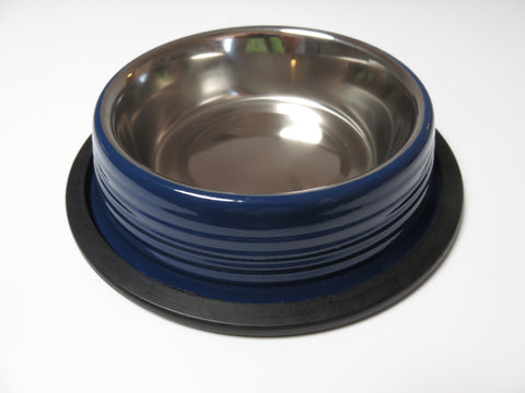 Poseidon Blue Ribbed Cat and Dog Bowls
