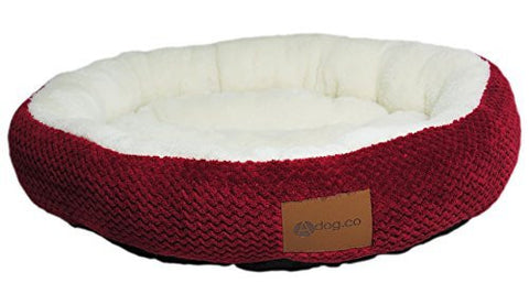 Red Ultra Soft Round Dog Beds