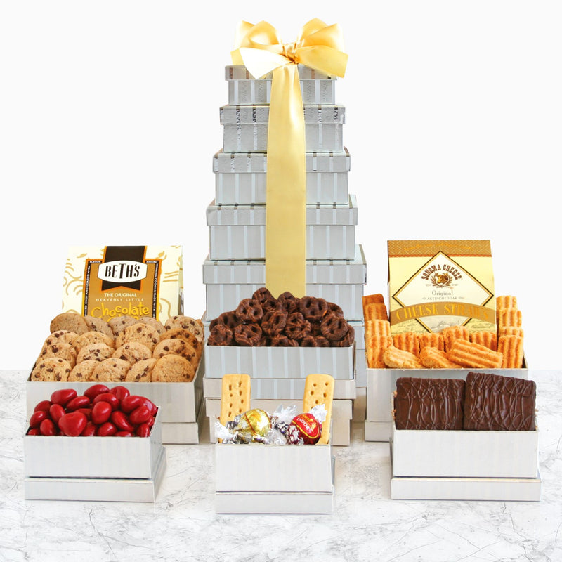 Shimmering Gourmet Gift Tower