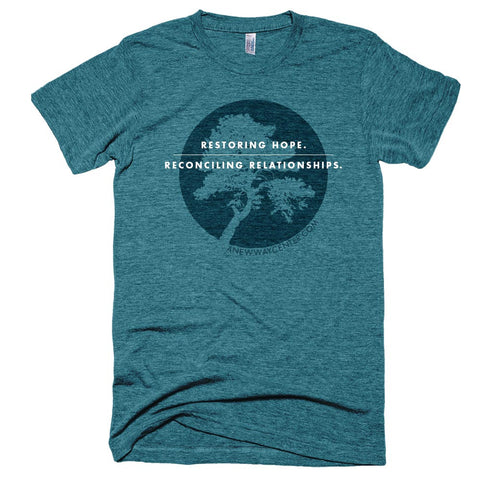 """Restoring Hope. Reconciling Relationships."" – T-shirt"