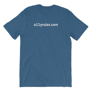 Blue A11y Rules Short-Sleeve Unisex T-Shirt
