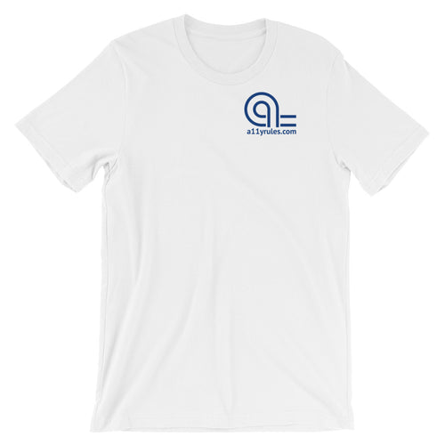 White A11y Rules Short-Sleeve Unisex T-Shirt