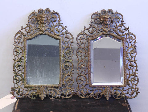 Pair Small Cast Brass Mirrors