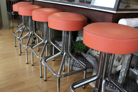 1960's Chrome and Vinyl  Bar Stools