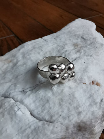 SeaFoam Bubbles Hammered Ring