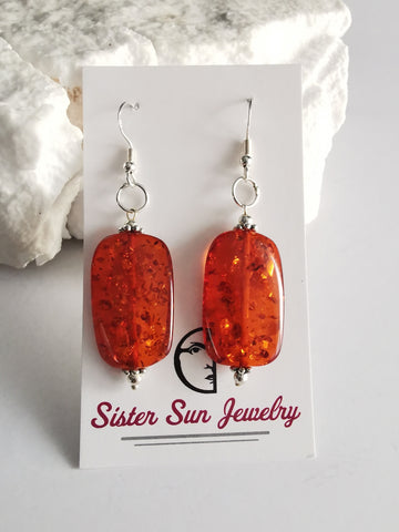 Synthetic cognac Amber Drop Earrings