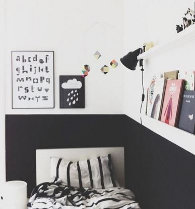 Black and white half wall