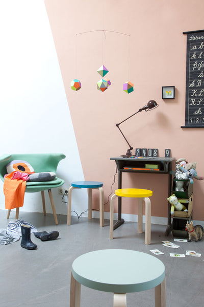 Color Block Wall for Playroom by Petit and Small