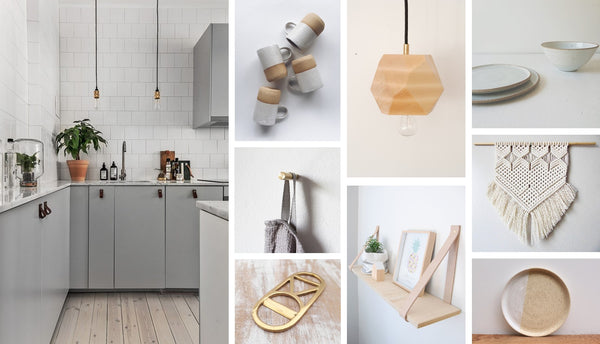 kitchen wood clay ceramic macrame and brass tending materials