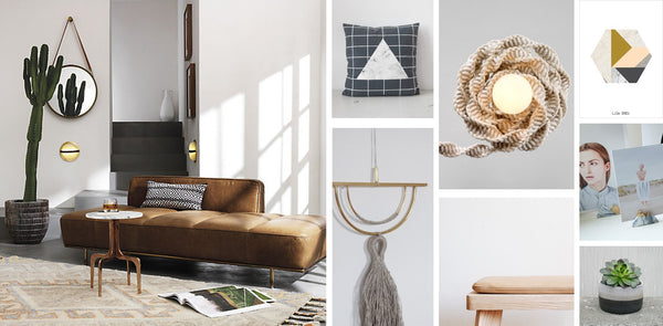 living room marble grey macrame and leather tending materials
